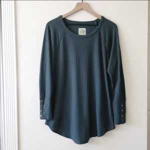 Chaser teal waffle thermal button long sleeve